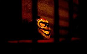 Обои мрак, Halloween, тыква, Хеллоуин