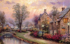 Обои свет, мост, река, улица, рисунок, картина, освещение, фонари, рисунки, картины, речка, живопись, river, bridge, street, ...