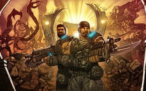 Картинка Lancer, gears of war, mark, marcus fenix, Dominic Santiago, Mark 2 Lancer Assault Rifle, Mark …