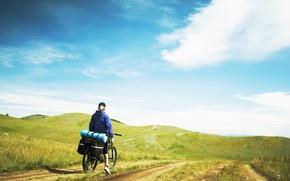 Обои горы, природа, велосипед, путешествие, туризм, турист