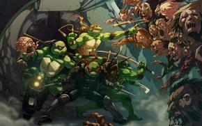Картинка Черепашки-ниндзя, TMNT, Raphael, Leonardo, Donatello, Teenage Mutant Ninja Turtles, Michelangelo, Shredder, Zombie Apocalypse