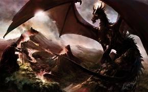 Картинка горы, скалы, дракон, меч, арт, лава, мужчина