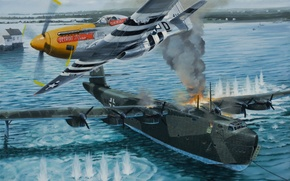 "Картинка war, art, painting, ww2, attack, Voss Bv 222 ""Wiking"", P 51 D mustang"