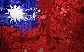 Картинка краски, флаг, Тайвань, flag, Taiwan, Флаг Китайской Республики, Republic of China