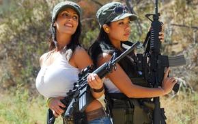 Картинка Denise Milani, Guns, Big Boobs, Hunting