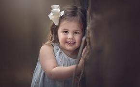 Картинка взгляд, улыбка, настроение, девочка, бантик