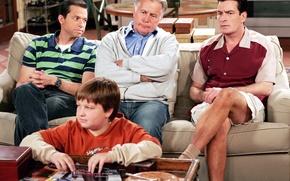 Обои сериал, актеры, персонажи, Джон Крайер, Джейк Харпер, Чарли Харпер, Алан Харпер, Два с половиной человека, ...
