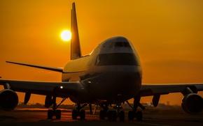 Картинка небо, закат, самолёт, пассажирский, Boeing 747A