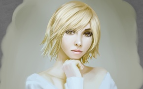 Картинка глаза, взгляд, девушка, лицо, портрет, блондинка