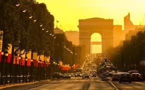 Картинка city, light, Paris, road, cars, trees, sunset, France, street, flags, Arc de Triomphe, avenue, building, …