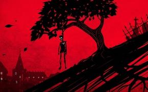 Картинка листья, дерево, сердце, дома, ограда, арт, скелет, красный фон, висельник