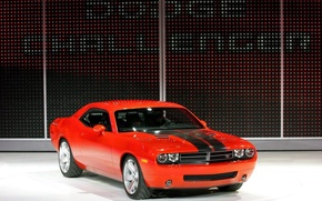Обои красный, Challenger, Concept, Dodge