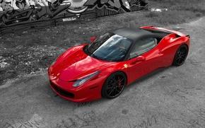 Картинка красный, отражение, red, ferrari, феррари, вид сбоку, италия, 458 italia, яёрные диски