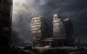 Картинка ночь, город, апокалипсис, здание, арт
