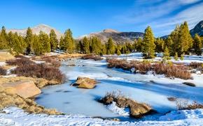 Картинка камни, небо, снег, горы, лед, деревья, облака