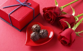 Обои sweets, подарок, конфеты, романтика, chocolate, gift, розы, romantic, любовь, Rose, шоколад, love, heart, Valentines Day