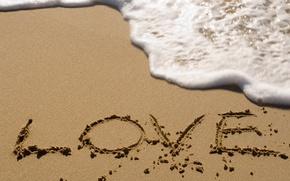 Картинка песок, море, пляж, пена, надпись, волна, love