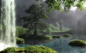 Картинка пейзаж, природа, река, дерево, водопад, арт, klontak