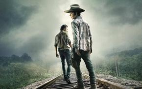 Картинка Zombie, Sky, Men, Wallpaper, Horror, TV Series, Hat, Cloud, Fog, The Walking Dead, Forest, Andrew …