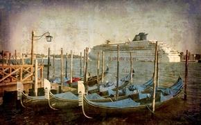 Обои vintage, Venice, Италия, city, город, гондола, канал, Венеция, Italy