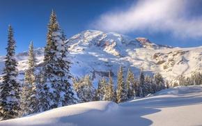 Обои снег, Зима, горы