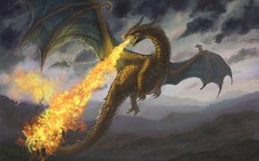 Картинка горы, огонь, дракон