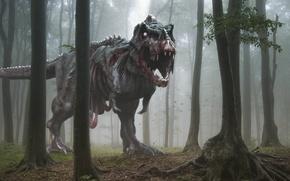 Картинка лес, деревья, страх, пасть, зомби, Динозавр