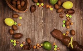 Обои шоколад, яйца, Пасха, chocolate, Easter, eggs, decoration, Happy
