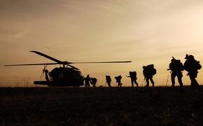 Обои посадка, солдаты, вертолет, Night Hawk, военные
