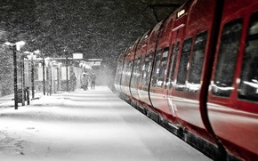 Картинка зима, Ночь, силуэт, фонари, метель, полустанок