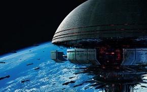 Картинка космос, art, Mass Effect 3, space station