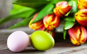 Картинка яйца, пасха, тюльпаны, flowers, tulips, Easter