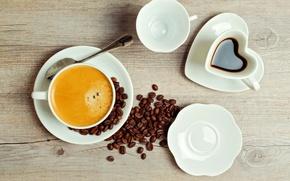 Картинка пена, стол, кофе, зерна, ложка, чашки, напиток, блюдца