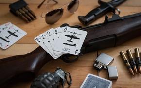 Картинка карты, зажигалка, очки, нож, лимонка, M1 Garand, самозарядная винтовка