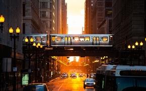 Картинка свет, город, метро, улица, вечер, вагоны, Чикаго, США
