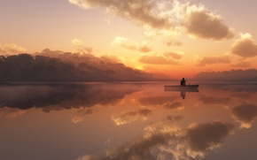 Картинка туман, озеро, лодка, рыбак