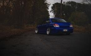 Обои Subaru, синяя, blue, wrx, impreza, субару, sti, импреза, stance