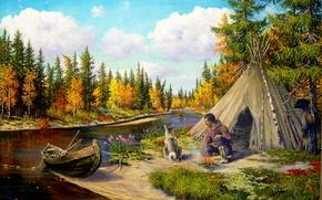 Картинка природа, река, лодка, собака, арт, тайга, охотник, Андрей Лях