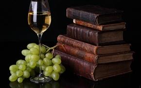 Картинка вино, бокал, книги, еда, виноград, пища для ума