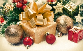 Картинка праздник, подарок, игрушки, ель, бант