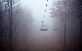 Картинка туман, канатная дорога, пейзаж