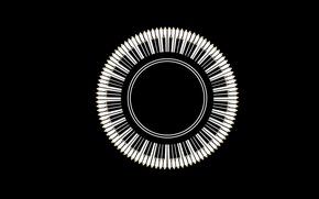 Картинка чёрные, круг, карандаши, клавиши, белые