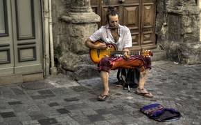 Картинка улица, гитара, музыкант