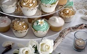 Картинка еда, розы, украшение, свадьба, кексы
