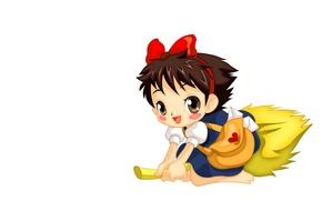 Картинка аниме, арт, девочка, метла, ведьмина служба доставки, помело