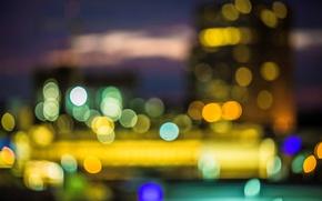 Картинка макро, город, огни, фон, обои, размытие, wallpaper, широкоформатные, background, macro, боке, bokeh, полноэкранные, HD wallpapers, …
