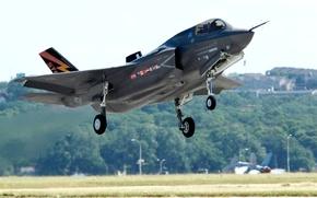 Картинка самолёт, взлёт, истребитель-бомбардировщик, F-35 «Lightning II», «Lockheed Martin», «Локхид-Мартин», Ф-35 «Молния» II)