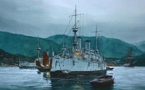 Картинка вода, горы, рисунок, парусник, арт, порт, гавань, джонки, Tom Freeman, крейсера, боевые корабли