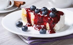 Обои ягоды, черника, торт, cake, крем, десерт, выпечка, сладкое, sweet, dessert, berries, кусочек