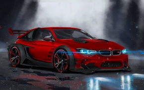 Картинка BMW, Red, Car, Front, Neon, Sport, Customs